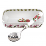 Botanic Garden Cranberry/Appertiser Dish with Slotted Spoon