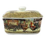 Cockerel and Hen Retro Design Fine China Butter Dish