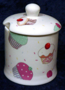 Cupcake bone china preserve, jam mamalade pot container