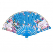 Spanish Floral Oriental Dance Party Wedding Folding Hand Fan Lace - Lake Blue