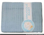 100% Cotton Cellular Pram Crib Cradle Blanket Blue 75 x 150 cms