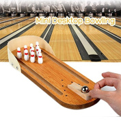 Gossip Boy Wooden Tabletop Bowling Game Set for Kids / Adults - Including 1 Panel, 1 Socket, 1 Steel Ball, 10 Pins