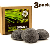 Bath Blossom Konjac Facial Sponge (3 Pack) - Black Charcoal Face Cleansing Sponges - Great for Skin Exfoliator