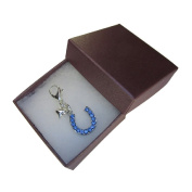 Handmade Wedding Gift for the Bride - Something Blue - Mini Blue Crystal Horseshoe Clip on Charm - Gift Boxed