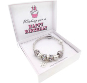 18th Birthday Leather Charm Bracelet Pandora Style Gift Boxed 19cm