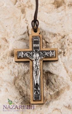 Olive Wood Cross Silver Plated Crucifix on Thread Handmade Bethlehem 4.6cm