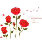 Cy-buity 75cm*120cm Red Rose Removable Art Vinyl Quote Wall Sticker Decal Mural Home Room