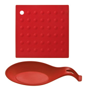 Red Kitchen Silicon Trivet and Spoon Rest Set Prime Homewares®