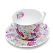 Roy Kirkham Sweet Pea Breakfast Cup & Saucer, Pink
