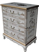 Chinese Oriental Furniture - White Lacquer Chest of Drawer with Mother of Pearl