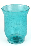 Cracked Glass Hurricane Lamp, Coloured Glass Candle Holder, Blue