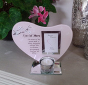 Special Mum Heart Shaped Memorial Tea Light Holder with Special Verse in Pink