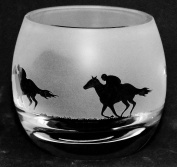 *RACEHORSE GIFT* Boxed Crystal Tea light Holder with Racehorse FRIEZE