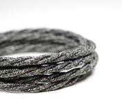 PREMIUM ITALIAN VINTAGE FABRIC FLEX LIGHTING CABLE 3 CORE | Twisted Old Wool Grey