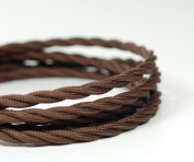 VINTAGE TWISTED FABRIC LIGHTING CABLE | Chocolate Brown | 3 core