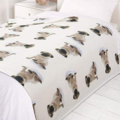 Dreamscene Warm Soft Puppy Pug Dog Decorative Fleece Throw Over Bed Sofa Blanket 120 x 150cm