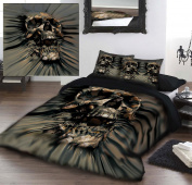 SKULL RIP-THRU Double/Twin Bed Duvet & Pillows Set Artwork by David Penfound