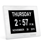 Extra Large Non-Abbreviated Digital Clock- Brushed Silver