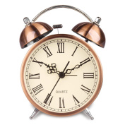 HENSE Non Ticking Bedside Twin Bell Alarm Clock Battery Powered Night-light Loud Alarm Clocks with Bright Copper Colour HA41
