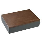 STACKERS - Men's Charcoal Grey Mini Cufflink STACKER with Dark Wood Style Lid