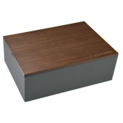 STACKERS - Men's Charcoal Grey Classic Watch STACKER with Dark Wood Style Lid