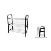 TOOGOO(R) Black Plastic Stand Silver Tone Metal Tube Design 3 Tier Shoes Rack