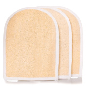Exfoliating Loofah Body Scrubber Mitts - Bath and Shower 3 Pack - Skin Care Tool For Men and Women - 100% Natural Luffa Product - Excellent Exfoliator for Clear, Smooth Skin.