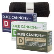 Duke Cannon Mens Bar Soap Bundle and Freedom Washcloth - 3 Big American Bricks Of Soap By Duke Cannon