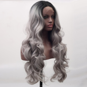 Arimika Bodywave Short Black Roots Silver Grey Ombre Synthetic Hair Lace Front Wigs