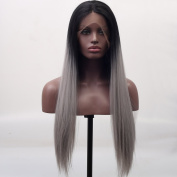 Arimika Silk Straight Long Black Roots Silver Grey Ombre Synthetic Hair Lace Front Wigs