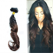 LUFFY Two Tone #1b Ombre #4 Clip In Human Hair Extensions 8pcs 80g Wavy Clipin Hair 8A Brazilian Virgin Human Clip In Hair for Women 36cm