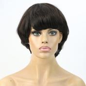 WOB Hair 20cm Peruvian Virgin Human Hair Natural Straight Glueless Machine Made None Lace Wig for women Natural Colour