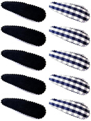 A Set of 10 Navy Blue and Cheque Blue with White Hair Slides/Hair Grips/Bendies