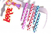A Pack Of 6 Bright Coloured Pastel Spotty Hair Slides Hair Grips Kirby Hair Grips