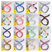 Lovef Pretty Cute 10pcs /lot Different Colours and Design Rabbit Bunny Ear Girl Hair Headband Scarf DIY Wire Band Bow Head Wrap Assorted Colours