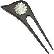 Evolatree - Asymetrical Double Prong Wood Hair Stick - Mother Of Pearl Shell, Star Burst - 15cm