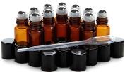 Vivaplex, 12 New, High Quality, Amber, 3 ml Glass Roll-on Bottles with Stainless Steel Roller Balls - .5 ml Dropper included