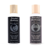 Polished Gentleman Beard Growth and Thickening Shampoo and Conditioner - With Organic Beard Oil - For Best Beard Look - For Facial Hair Growth - Beard Softener for Grooming - 120ml Small beard