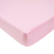 TL Care 100% Cotton Percale Fitted Crib Sheet, Pink, 70cm x 130cm