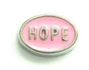 "Cherityne Pink Oval ""Hope"" Floating Charm for Locket Pendants"
