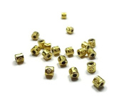 Foxy Findings Tube Spacer Beads, 10 Pieces Mini Spacer Beads 24K Gold Plated Supplies, Turkish Jewellery Findings - SFG032