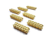 Foxy Findings 3 Pieces Rectangle Bead Divider Bar Spacer 5 Strand - 24K Gold Plated - SFG017