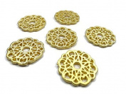 Foxy Findings 5 Pieces Round Flower Fretwork Lace Charms - 24k Matte Gold Plated Brass - SFG015