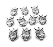 Set of Ten (10) Silver Tone Pewter Owl Charms