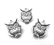 Set of Three (3) Silver Tone Pewter Owl Charms
