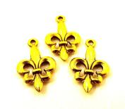 Set of Three (3) Gold Tone Fleur De Lis Charms