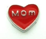 Cherityne Mom Red Heart Floating Charm for Locket Pendants