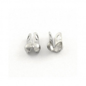 Pack of 30 x Silver Stainless Steel 2 x 4mm Bead Tips Clamshells Calottes - (Y02095) - Charming Beads