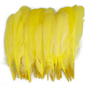 Ewandastore 100pcs 4-6inch/10-15cm Yellow Home Decor Decorating Natural Goose Feathers for Craft Wedding Party
