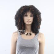 STfantasy 48cm Fancy Dress Costume Adults Black (Highlight Brown) Disco Short Curly Big Afro Wig For Black Women
